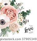 Floral card Design with garden flowers bouquet 37905349