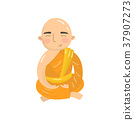 Buddhist monk meditating in lotus position 37907273