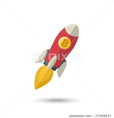 Bitcoin icon rocket ship 37908633