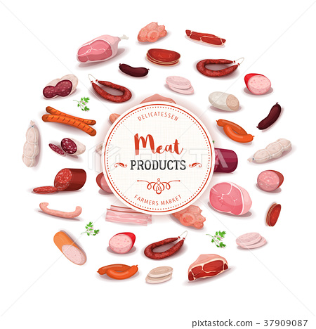 Delicatessen Meat Products Banner 37909087