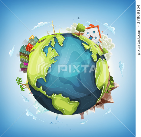 Earth Planet Background With House and Nature 37909104
