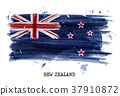 Watercolor painting flag of New zealand . Vector 37910872