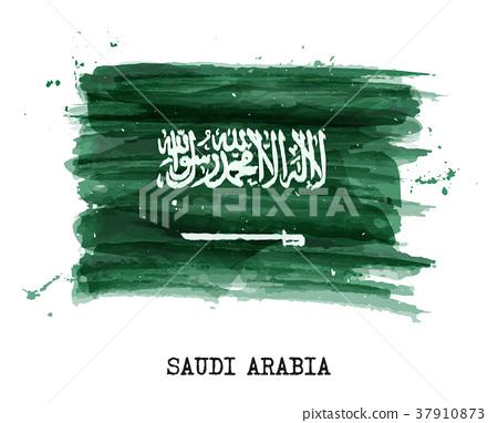 Watercolor painting  flag of Saudi arabia . Vector 37910873