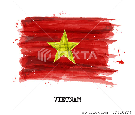 Watercolor painting flag of Vietnam . Vector 37910874