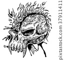 skull hand draw with flame 37911411