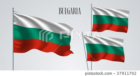 Bulgaria waving flag set of vector illustration 37911702