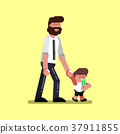 Boy with father walking 37911855