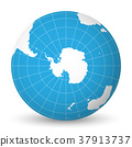 Earth globe with white world map and blue seas and 37913737