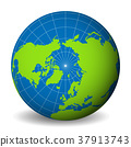 Earth globe with green world map and blue seas and 37913743