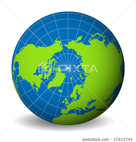 Earth globe with green world map and blue seas and