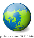 Earth globe with green world map and blue seas and 37913744