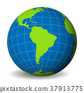 Earth globe with green world map and blue seas and 37913775
