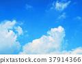 blue sky, fleecy clouds, fluffy cloud 37914366