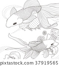 adorable golden fish coloring page 37919565