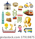 lovely Taiwan landmarks and snacks map in flat style 37919875