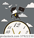 businessman running in a hurry 37922230