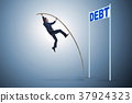 Businessman pole vaulting over debt in business 37924323