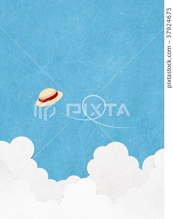 A straw hat flying in the summer sky 37924675