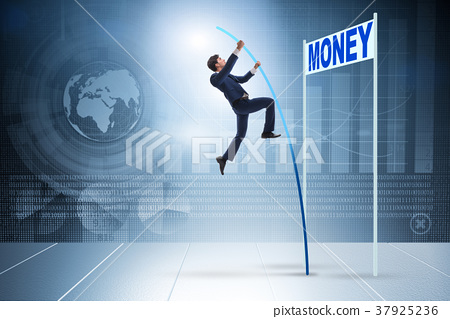 Businessman jumping over money in business concept 37925236
