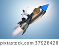 Businessman flying on rocket in bitcoin price 37926428