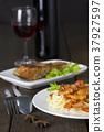 Spaghetti prawn and salmon steak white dish wine 37927597