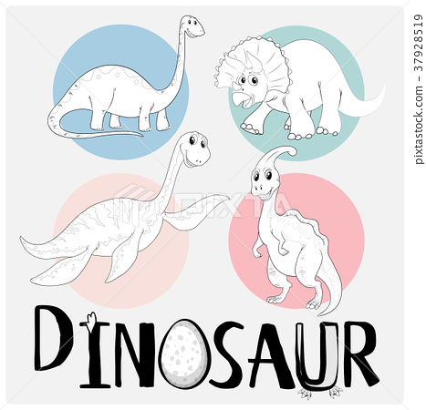 Dinosaurs in four different types 37928519