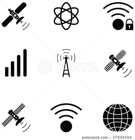satellite icon set 37930504