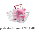 Shopping basket with piggy bank on white 37931581