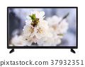 Black TV with  picture on the monitor of th 37932351