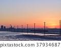 电杆 晚景 海洋 37934687