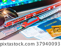 Toy train, tickets, passport and bank card on laptop or notebook 37940093
