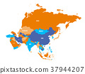 Political map of Asia continent. Vector 37944207