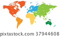 World map divided into six continents. Each 37944608