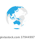 Earth globe with blue world map. Focused on 37944997