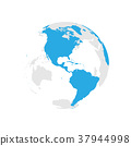 Earth globe with blue world map. Focused on 37944998