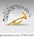 Golden trumpet with music notes in background 37945105