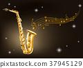 Golden saxophone on black background 37945129
