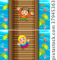 Two scenes of muslim boy and girl on the bridge 37945363
