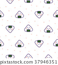 Onigiri rice ball japan seamless vector pattern. 37946351