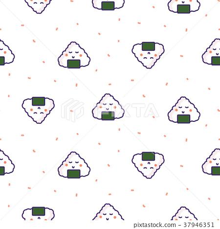 Onigiri rice ball japan seamless vector pattern. 37946351