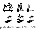 Set of Treadmill and Elliptical icons and symbol 37950728