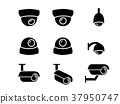 CCTV camera icons and symbol in silhouette, vector 37950747