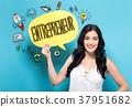 Entrepreneur with woman holding a speech bubble 37951682