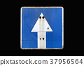Old rusty blue road sign 'One-way street' isolated 37956564