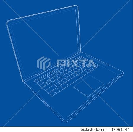 Outline drawing laptop  Vector illustration - Stock Illustration