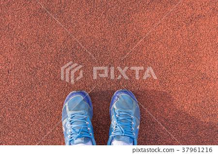 Blue shoes on the orange background. 37961216