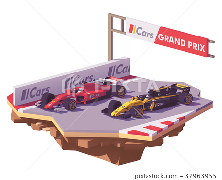 Vector low poly formula race 37963955