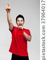 확성기,응원,젊은남자,축구 37964017