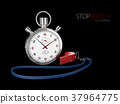 Realistic image of a sports stopwatch with whistle 37964775
