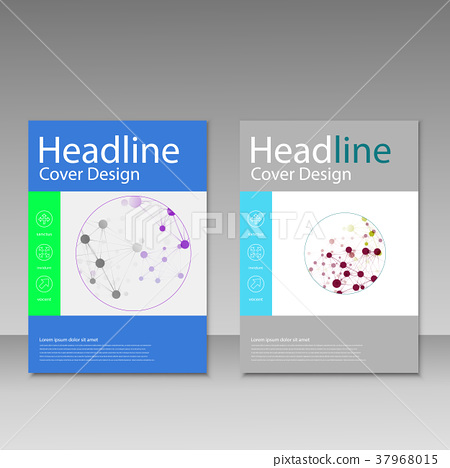 Molecule design brochure template. Science vector 37968015